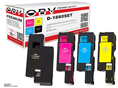 OBV 4x kompatibler Toner ersetzt Dell 7C6F7 593-11130 5R6J0 593-11129 XY7N4 593-11131 4J0X7 593-11128 für Dell C1660 C1660W Dell C 1660 C 1660W