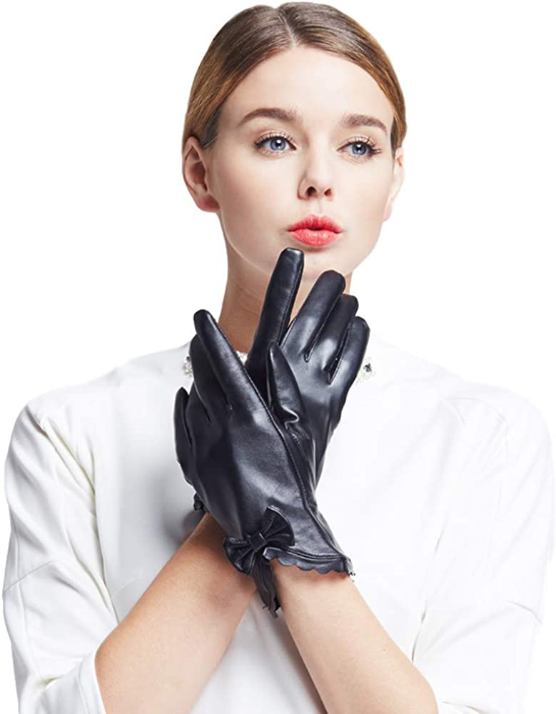 Mandy's Women's Genuine Leather Plush Lining Touch Screen Gloves