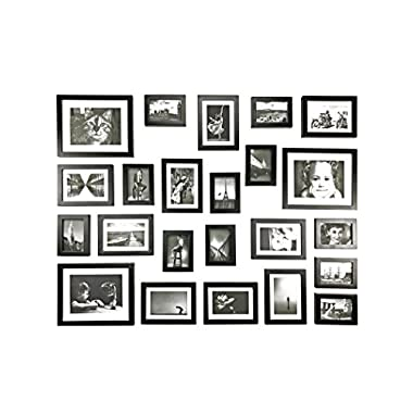 Solid Wood Photo Gallery Wall Frame Set  - 23 Frames - GLASS Window- With White Picture Mats- Frame Width 2cm - Overall Size: 195 x85cm-BLACK