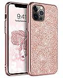 BENTOBEN Funda iPhone 12 Pro MAX, Carcasa iPhone 12 Pro MAX Cover Ultra Delgada Brillante Purpurina Resistente Silicona Suave PC Dura Cuero Completa Fundas para iPhone 12 Pro MAX 6,7''-Bling Oro Rosa