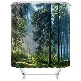 Koongso Cortina de regadera para Cuatro Estaciones, Resistente al Agua, diseño de Naturaleza y Bosque