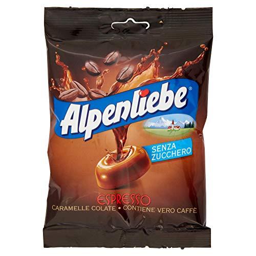 Perfetti Alpenliebe Espresso Caramelle Colate senza zucchero Bonbon mit echtem Kaffee zuckerfreie Süßigkeiten Lollies 80g Beutel