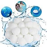KATELUO 700g Filter Balls für Pool, Filterbälle, Filtermaterial für Poolpumpe, Poolfilter Balls, Filterkugeln, Ersetzen 25 kg Filtersand Quarzsand für Pool Sandfilter(Weiß) (700g)