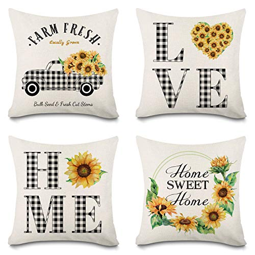 Faromily Summer Sunflower Pillow Covers 18x18 Buffalo Check Plaid Truck Wreath Home Love Throw Pillowcases Set of 4 Spring Farmhouse Decorations Cushion Covers Cotton Linen Home Sweet Home Watercolor