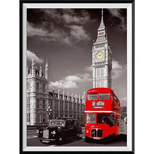 GJYAC Diamant Peinture 5D Bricolage Diamant Peinture Plein carré perceuse ,Vue sur la Rue de Londres, Diamant Broderie Un Cadeau pour la Famille, (16X20 Pouce / 40X50cm)