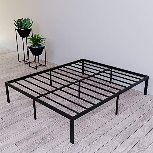 Dreamzie Metallbett 140x200 x 36 cm - Bettgestell aus Metall 140x200 cm Bett für Matratze Doppel - Robust, Leichte Montage, Umfangreicher Stauraum - Schwarzer Lattenrost