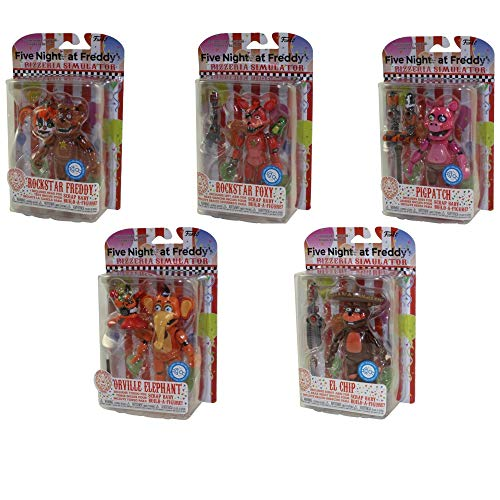 Five Nights at Freddy's: Pizza Simulator Pigpatch, El Chip, Rockstar Freddy, Rockstar Foxy, And Orville Elephant 5-Inch Action Figures Set Of 5 To Build Scrap Baby