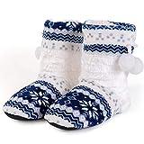 HHYSPA Women's Warm Bootie Slippers,Women's Slippers Floor Socks Winter Warmth Fur-Lined Boots One Size 36-41 Blue