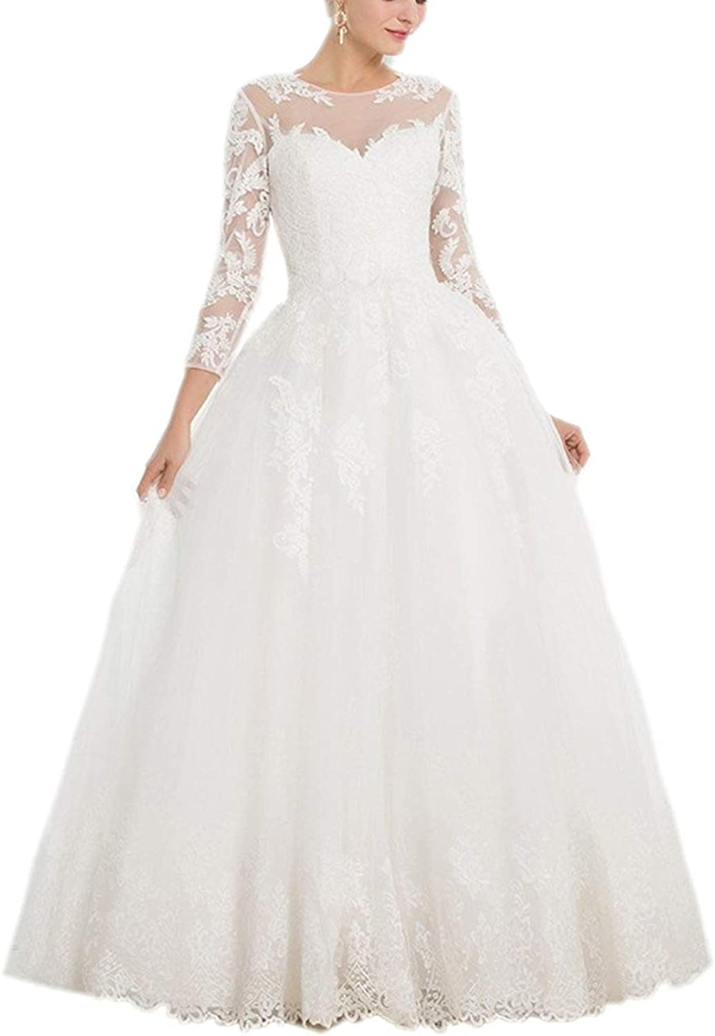 Alexzendra Ball Gown Wedding Dress for Bride 2019 Bride Dress with Sleeves Applique
