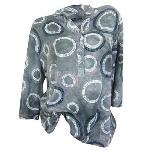 Ausverkauf 2019 Neu Damen Gedruckt Taste Lange Ärmel,Frauen Sommer Beiläufige Lose Runde Kragen Jacke Hemd Tops Bluse T-Shirts Tunika Pullover T