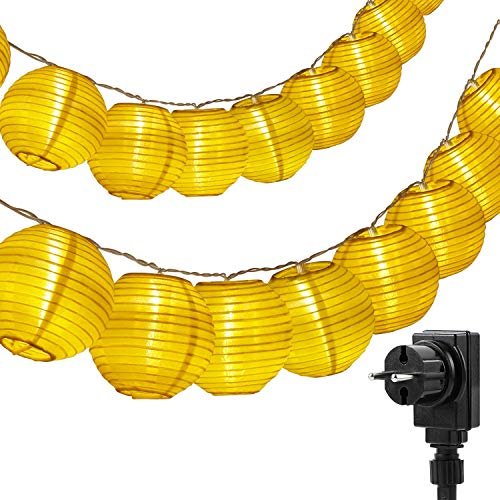 Eqosun® Lampion Lichterkette 30 LEDs mit Netzstecker (Strom) + 4 Meter Zuleitung warmweiß für Innen und Außen Deko