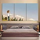 3 Piezas Lienzo Pintura,Impresiones En Lienzo 3 Piezas/Set,Moderno Pared Cuadros Decoración Del Hogar Sala Estar Dormitorio,Regalo Creativo,50Cmx70Cmx3(Marco) Personajes Animados AnimRick Y Morty