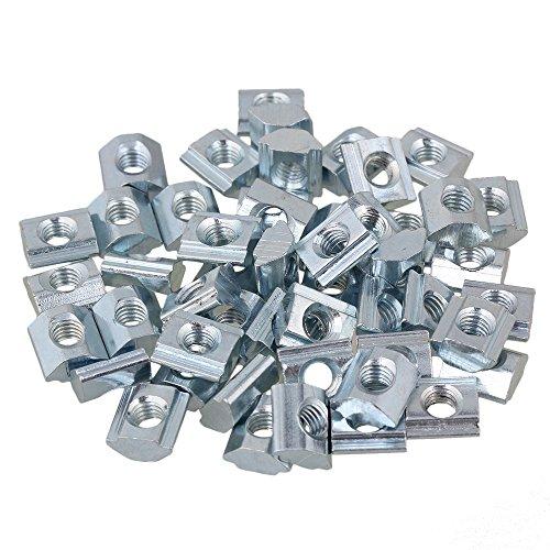 BQLZR - Tasseaux en T - Acier carbone argent - Norme européenne standard 20 - Profil extrudé en aluminium - Lot de 50, argent, BQLZRN22256