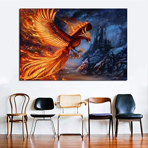 IWINO Golden Phoenix Animal Painting Bird Wall Art Print Posters Lienzo Moderno para la Sala Cuadros Decoración Sin Marco 70X105Cm Sin Marco