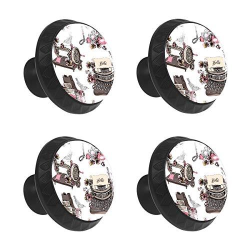 Schubladenknauf für Schrank, Vintage, Retro, Paris, Kamera, Kristallglas, rund, mit Schrauben, für Küche, Heim, Büro, 4 Stück