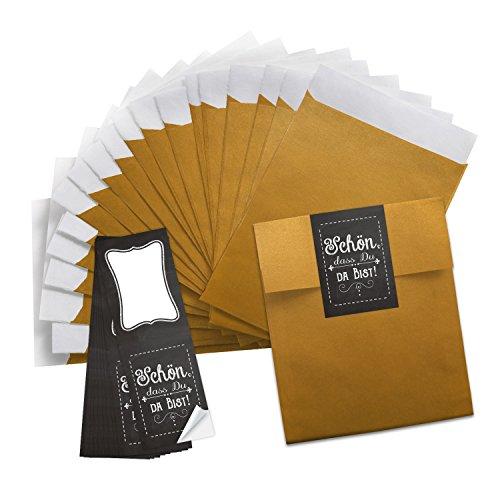 50 kleine goudkleurige papieren zakjes geschenkzakjes geschenkverpakking (13 x 18 cm) + 50 lange stickers 5 x 14,8 cm Mooi dat je da Bist tafel look zwart wit