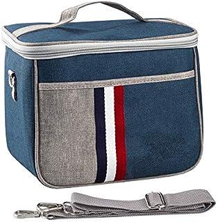 Lunch Bag Insulated Lunch Box Large Portable Cooler Tote bag for Men Women Adult for Office shoulder handbag Blue Multipoc...