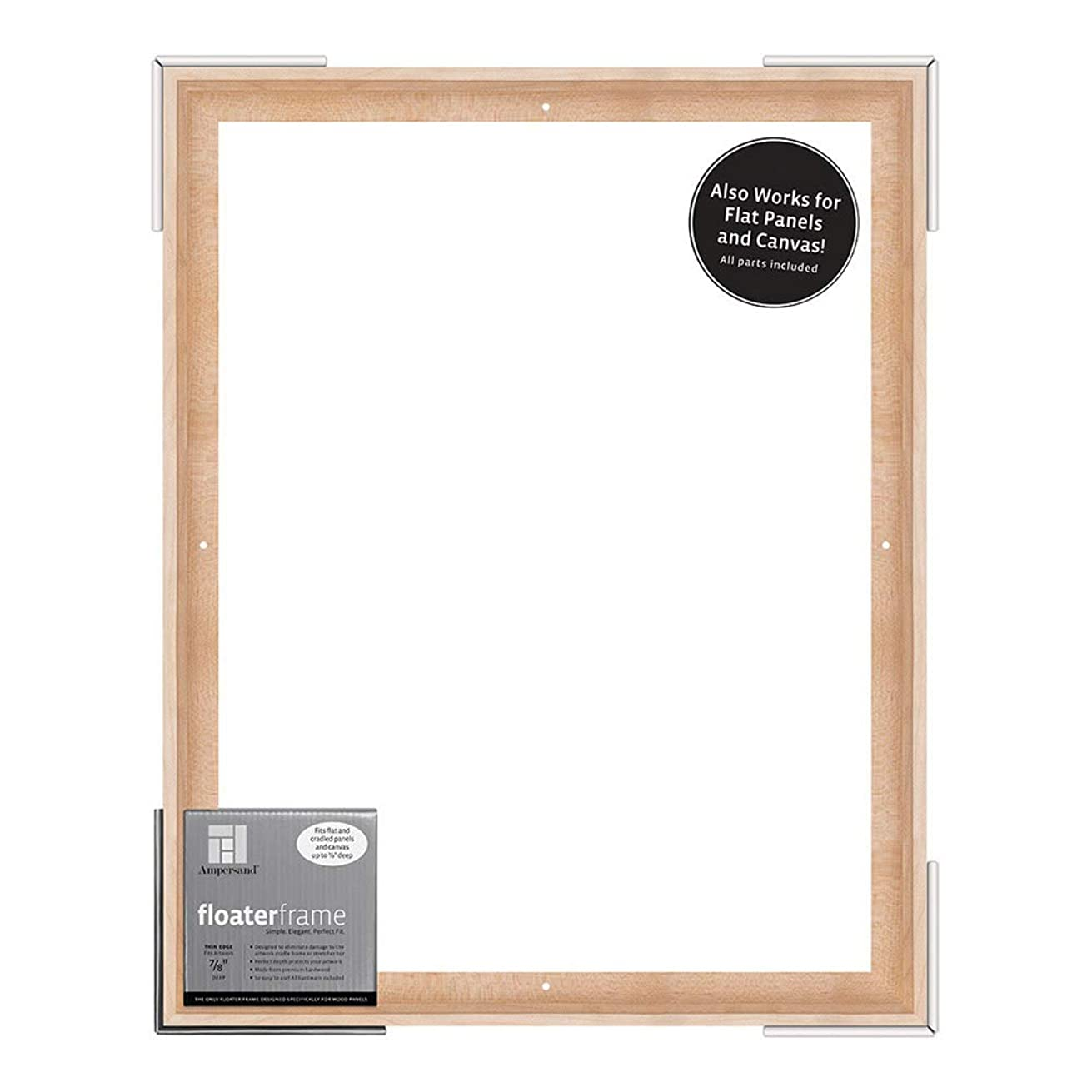 Ampersand Floaterframe for Wood Panels, 7/8 Inch Depth, Thin, 16X20 Inch, Maple (FTHIN781620M)