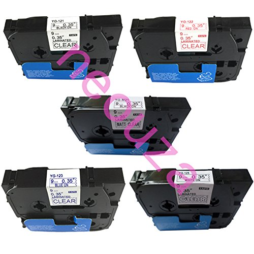 Neouza 5PK compatibile per Brother P-Touch Laminated TZe TZ Label tape larghezza 3/20,3cm x lunghezza 26.2'9mm x 8m Set of 5 Colors on Clear