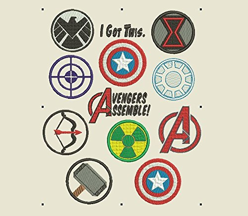 Avengers Machine Embroidery Files-Ironman, Captain America, Hulk, Black Widow, Shield, Hawkeye, Thor Symbols and Icons .EXP .PES .JEF more file Types!