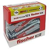 Fischer 544018cheville avec vis pour Murature pleines, perforées et cloison sèche, gris, 10x 50mm, lot de 10pièces