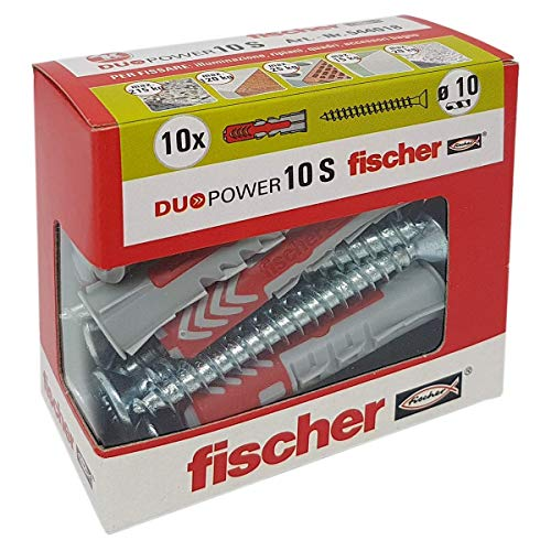 Fischer 544018tacos con tornillo para Murature llenos, perforadas y yeso, Gris, 10x 50mm, juego de 10unidades)