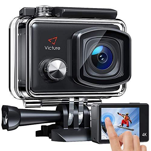 Victure Action Cam 4K Schermo a Touch 20MP WiFi Ultra Full HD 30M/98 Piedi Fotocamera Subacquea a Vista Regolabile Angolo 170 ° EIS 2 × 1350mAh Batterie Ricaricabili e Kit di Accessori