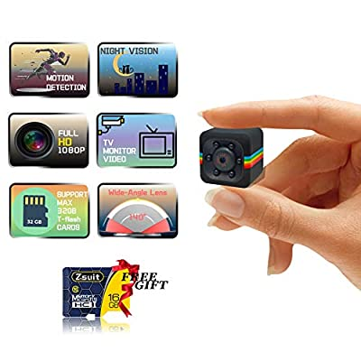 Spy Camera Wireless Hidden Camera with Audio and Video Recording HD 1080P Mini Spy Cam Portable Small Nanny Cam Night Vision & Motion Detection for Home Office Outdoor with 16GB Card & Card Reader