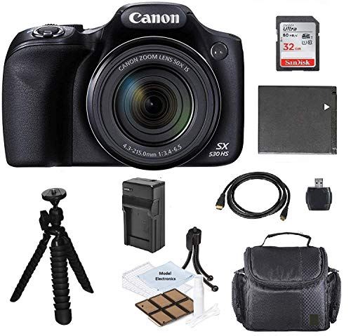 Canon PowerShot SX530 HS Wi-Fi Digital Camera with 32GB Card + Case + Battery & Charger + Flex Tripod + Kit
