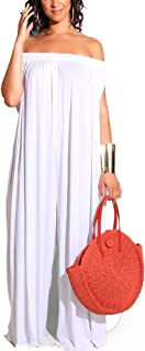 Plus Size Jumpsuits for Women - Off Shoulder Sleeveless Wide Leg Pants Loose Long Rompers
