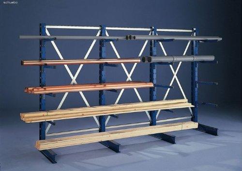 KR AR IPE120 einseitig 2000 x 1000 x 600 RAL 5010 mit 4 Kragarmen je Ständer System leicht Achsmass 1030 mm