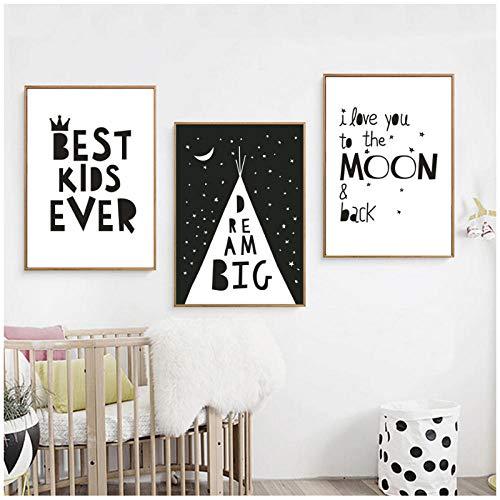 Lienzo Arte de la pared Pintura Imagen de 3 piezas Big Dream Negro Blanco Minimalista Carteles nórdicos e impresiones para guardería Habitación de niños Decoración para el hogar 50x70cm Sin marco