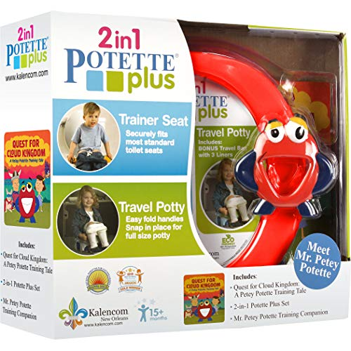Kalencom 2-in-1 Potette Plus Potty Training Kit with Mr. Petey Toy and Book Bundle, Red