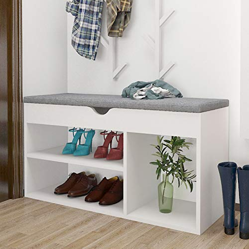 ZOYY White Shoe Storage Bench, Wooden Shoe Rack Bench with Cushion Padded Seating, Shoe Cabinet Bench with 2-Tier Storage Rack, Shoe Cubby Bench for Entryway Hallway Bedroom, Holds up to 250lb