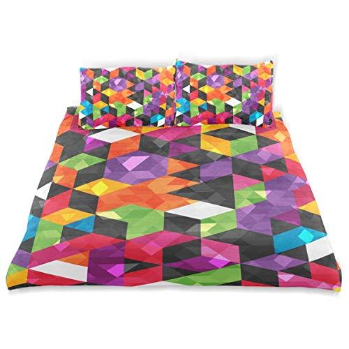 Juego de Funda nórdica Colorido Patrón Abstracto Formas geométricas Juego de Cama Decorativo sin Costuras de 3 Piezas con 2 Fundas de Almohada