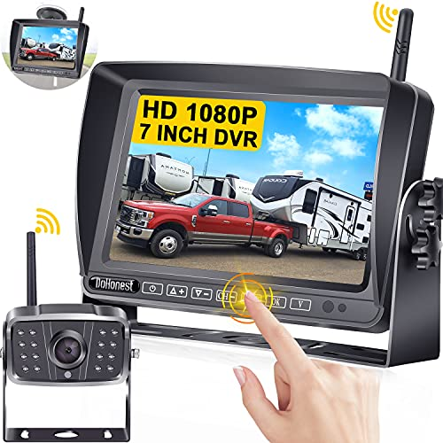 DoHonest S21 HD 1080P RV Wireless Backup Camera 7 Inch Touch Key Monitor High-Speed Observation Rear View Camera Kit with Recording for RV,Trailer,Truck,5th Wheel,IR Night Vision 170° View Waterproof