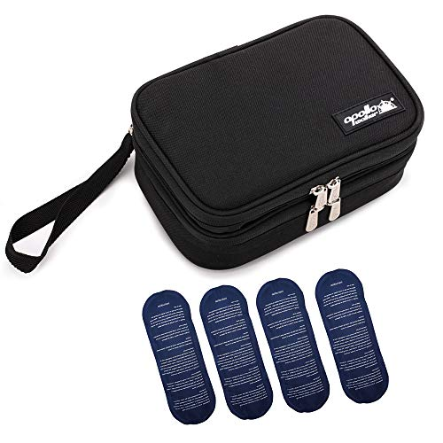 apollo walker Insulin Cooler Travel Case Medication Cooler Diabetic Organizer for Insulin Pens, Glucose Meter,Diabetic Testing Kit and Other Supplies with 4 Ice Packs(Black,Dual Compartment)