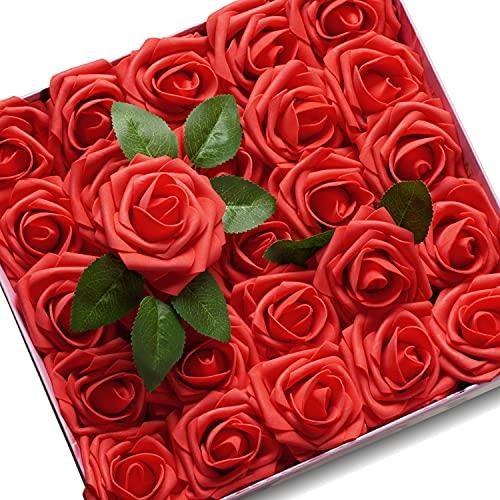 KONCHILE Artificiali Rosa Aspetto Reale Fiori Artificiali con Stelo per DIY Matrimoni Mazzi Nuziale Festa Casa Stanza Decorazioni Baby Shower(25pz, Rosso)