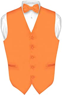 Men's Dress Vest & Bowtie Solid Orange Color Bow Tie Set for Suit or Tuxedo