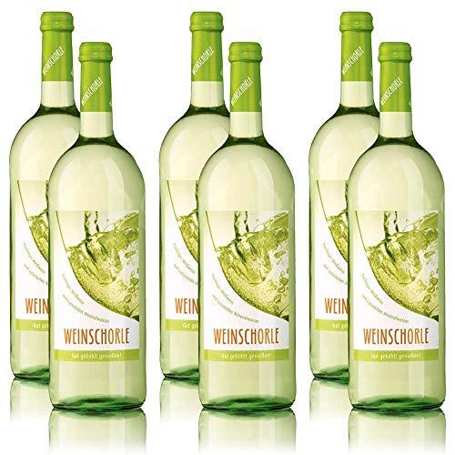 6 Flaschen Weinschorle Weiss, weinhaltiges Getränk im sortenreinen Weinpaket (6x1,0 l)