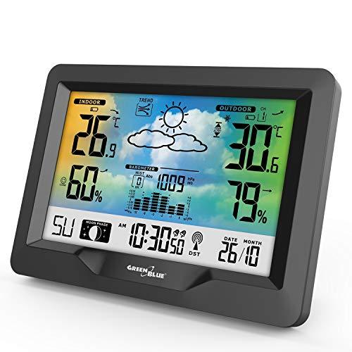 Green Blue GB540 weerstation met kleurendisplay DCF radioklok binnen- en buitentemperatuur weersvoorspelling maanstanden buitensensor, zwart