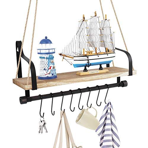 Lemecima Wandregal mit Seil Schweberegal Hängendes Regal aus Holz und Metall für Blumentopf Wohnaccessoires Decor Hängeregal Aufhängen für Badezimmer Schlafzimmer Wohnzimmer Küche Waschküche Büro