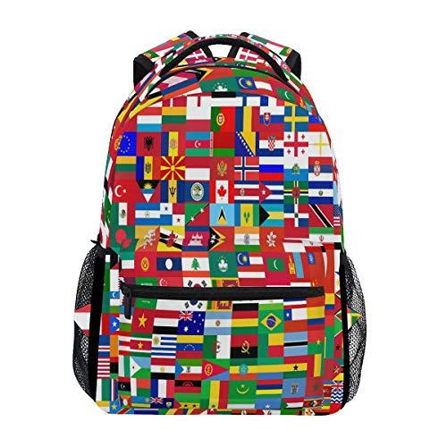 Funnyy - Mochila de Viaje con Bandera del Mundo político, Mochila de Viaje para la Escuela, Bolsa de Libro, Mochila para niños, niñas, niños, Hombres y Mujeres