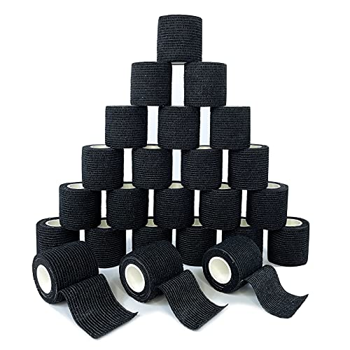 [24Pack 2'x5 Yards] Black-Self Adhesive Bandages Pre Wrap, Athletic Elastic Cohesive Bandage for Sports, Injuries, Treatments, and Recovery, First Aid Tape Vet Wrap for Cat, Dog (24pack, Black)