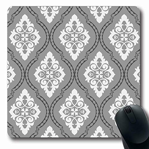 Jamron Mousepad Oblong 7.9x9.8 Inches Outline Classic Repeat Style Decoration Damask Ligature Pattern Vintage Victorian Textures Royal Non-Slip Rubber Mouse Pad Office Computer Laptop Games Mat