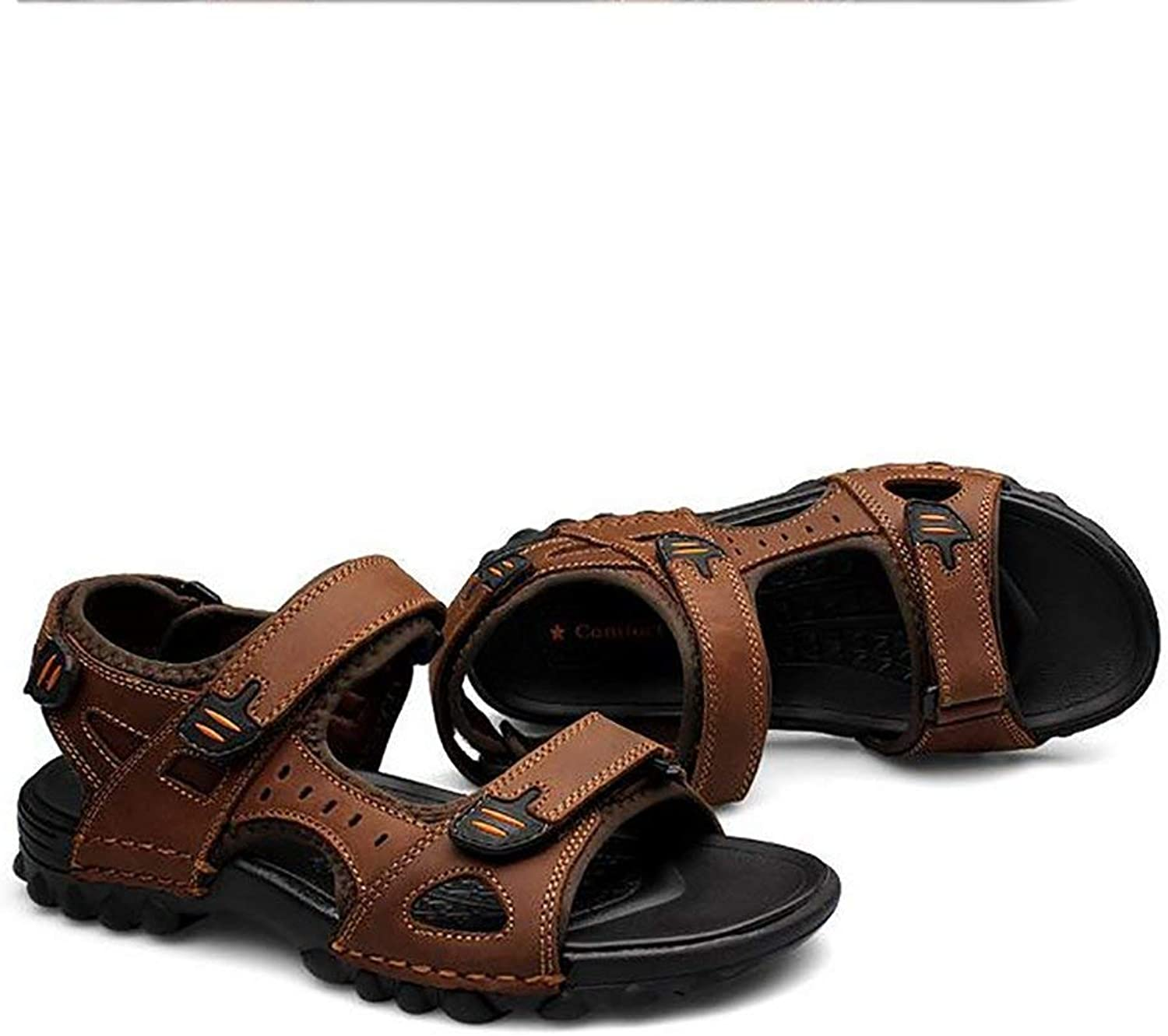 Yingsssq Leather Sandals Summer Cozy Breathable Men shoes Outdoor Beach Safety Soles Go Sport Travel Slippers, brown, 40 (color   Brown, Size   UK 6.5)