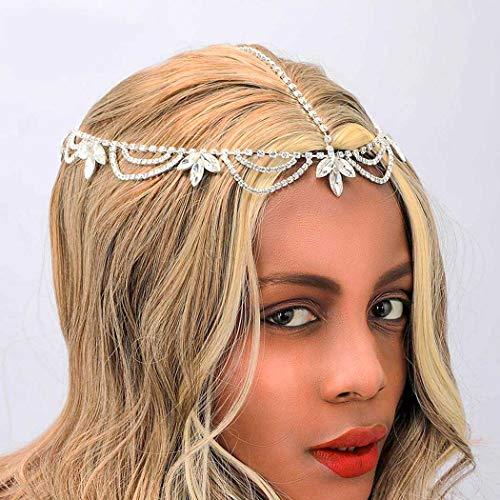 Sethain Boho Strass De mariée Tête Chaîne argent Cristal Front Chaîne Feuille la mariée Coiffes Mariage Cheveux Pièce Bal de promo Fête Accessoires pour cheveux pour les femmes et les filles