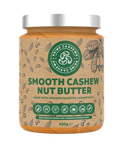 Natural Smooth Cashew Nut Butter - 450g - Award Winning - Dry Roasted - Free from emulsifiers, Oils, Salts & sugars - Made with Premium-Quality Cashew Nuts - Produced & Packed in The UK