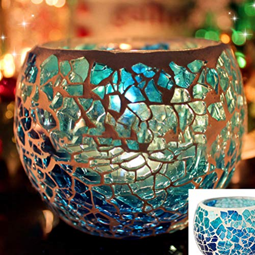 Uonlytech Mosaic Glass Candle Holder,Romantic Candlestick Holders Handmade Candle Stand for Home Party Christmas Halloween Decor(Random Style)