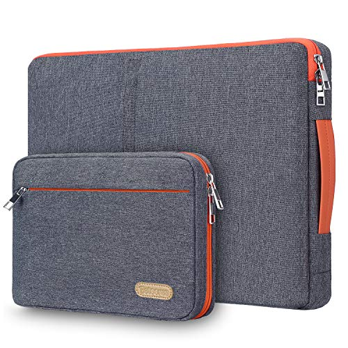 15 15.6 Inch Laptop Sleeve Case, Betoores Waterproof Computer Protective Carry Case Notebook Bag Briefcase with Detachable Accessory Pocket Compatible with 15' Asus/Acer/Dell/HP/Lenovo/Razer,Dark Grey